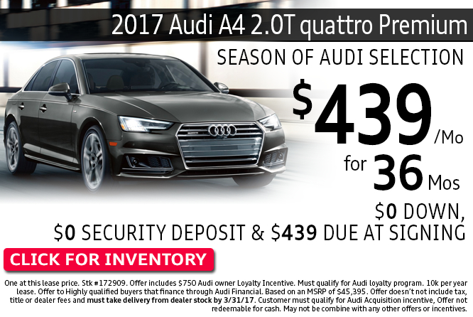 Enjoy Special Lease Savings on 2017 Audi A4 2.0T quattro Premium Models during this month's savings in Columbus, OH