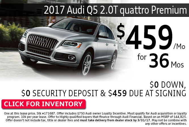 Enjoy Special Lease Savings on 2017 Audi Q5 2.0T quattro Premium Models during this month's savings in Columbus, OH