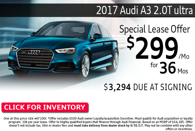 Special Low Lease Payments on a New 2017 Audi A3 2.0T ultra at Audi Columbus