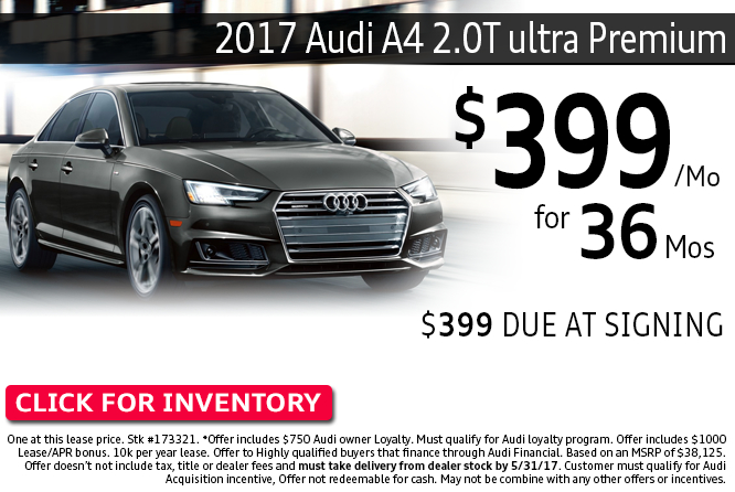 Lease a New 2017 Audi A4 2.0T ultra Premium with low monthly payments from Audi Columbus