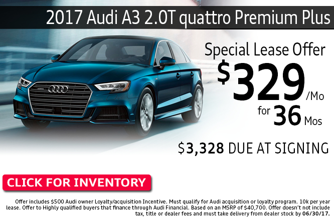 ave with this Columbus, OH special offer on a new 2017 Audi A3 2.0T quattro Premium Plus