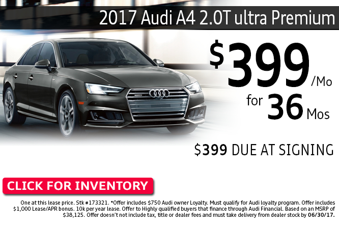 Save with this Columbus, OH special offer on a new 2017 Audi A4 2.0T Ultra Premium