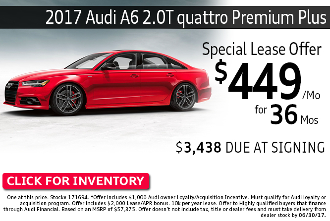 Save with this Columbus, OH special offer on a new 2017 Audi A6 2.0T quattro Premium Plus