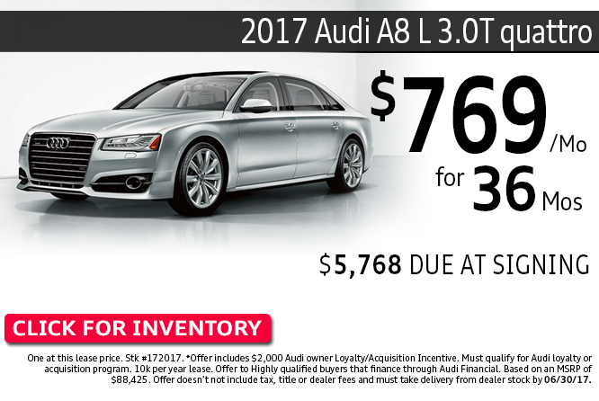 Save with this Columbus, OH special offer on a new 2017 Audi A8L 3.0T quattro