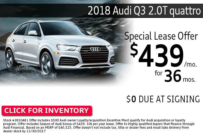 Lease a 2018 Audi Q3 2.0T quattro a low monthly payment at Audi Columbus