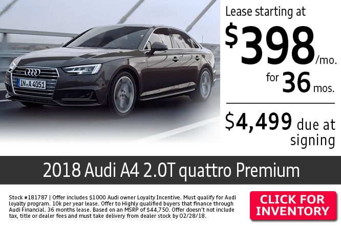 Lease a 2018 Audi A4 2.0T quattro Premium at low monthly payment in Columbus, OH