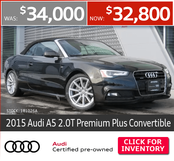 Certified Pre-Owned 2015 Audi A5 2.0T Premium Plus Convertible Special in Columbus, OH