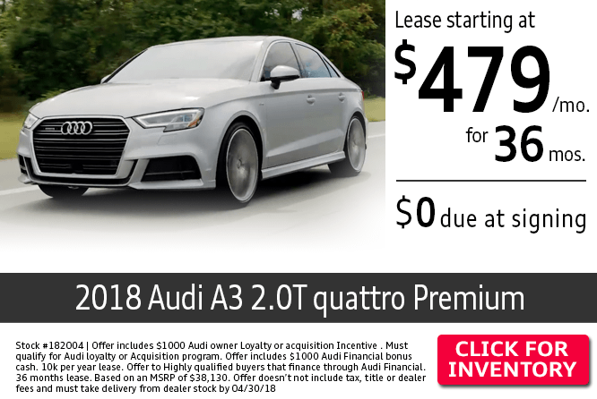 Save with this Columbus, OH special offer on a new 2018 Audi A3 2.0T Quattro Premium