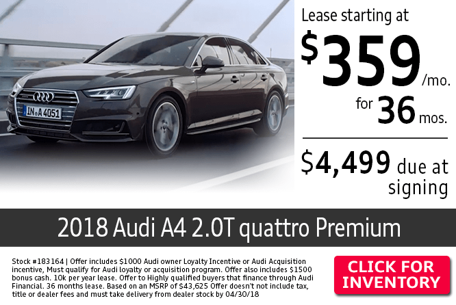 Save with this Columbus, OH special offer on a new 2018 Audi A4 2.0T Quattro Premium
