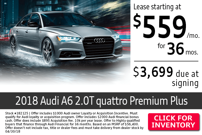 Save with this Columbus, OH special offer on a new 2018 Audi A6 2.0T Quattro Premium