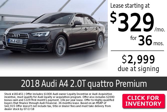 2018 Audi A4 2.0T Quattro Premium Low Payment Lease Special in Columbus, OH