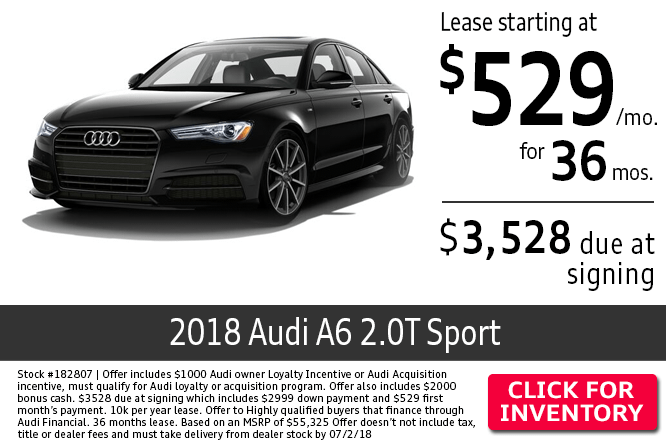 Lease a 2018 Audi A6 Quattro Premium Plus Sport for a Low Monthly Payment in Columbus, OH
