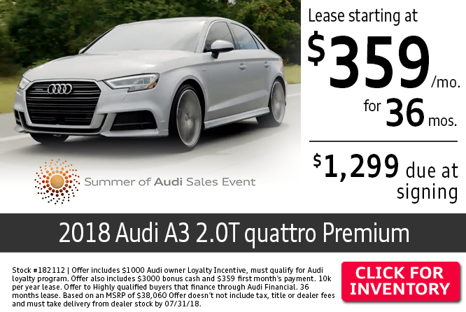 Lease a New 2018 Audi A3 2.0T quattro Premium from Audi Columbus