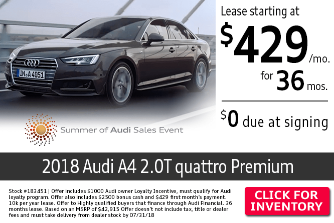 $0 Due at Signing on a New 2018 Audi A4 2.0T quattro Premium Lease at Audi Columbus
