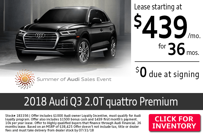 $0 Due at Signing on a New 2018 Audi A3 2.0T quattro Premium Lease at Audi Columbus