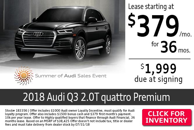 Audi Columbus Lease Special on a New 2018 Audi Q3 2.0T quattro Premium