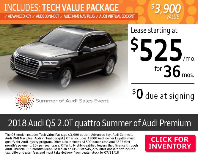 $0 Due at Signing on a New 2018 Audi Q5 2.0T quattro Summer of Audi Premium Lease at Audi Columbus