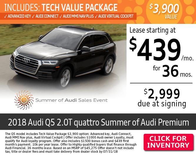 Save on Leasing a New 2018 Audi Q5 2.0T quattro Summer of Audi Premium at Audi Columbus