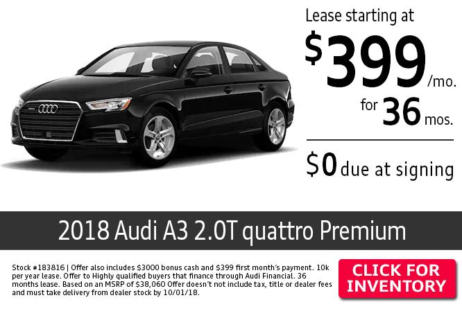 2018 Audi A3 2.0T Quattro Premium $399 per Month Lease Special in Columbus, OH