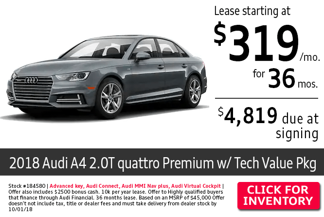 2018 Audi A4 2.0T Quattro Premium w/Tech Value Package $319 Per Month Lease Special in Columbus, OH