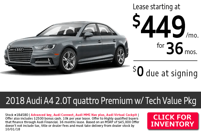 2018 Audi A4 2.0T Quattro Premium w/Tech Value Package $449 Per Month Lease Special in Columbus, OH