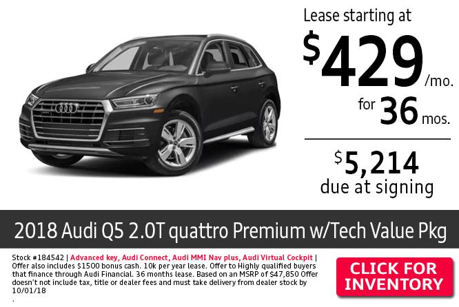 2018 Audi Q5 2.0T Quattro Premium w/Tech Value Package $429 Per Month Lease Special in Columbus, OH