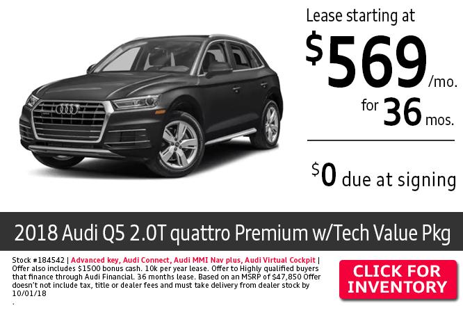 2018 Audi Q5 2.0T Quattro Premium w/Tech Value Package $569 Per Month Lease Special in Columbus, OH