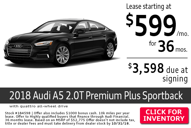 Save with this Columbus, OH special offer on a new 2018 Audi Sportback A5