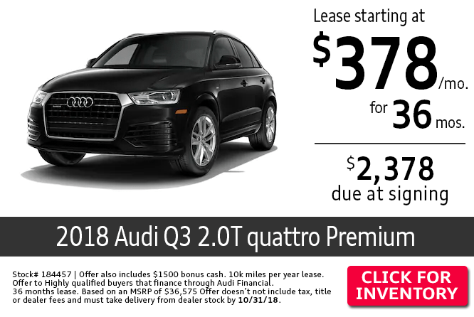 Save with this Columbus, OH special offer on a new 2018 Audi Q3