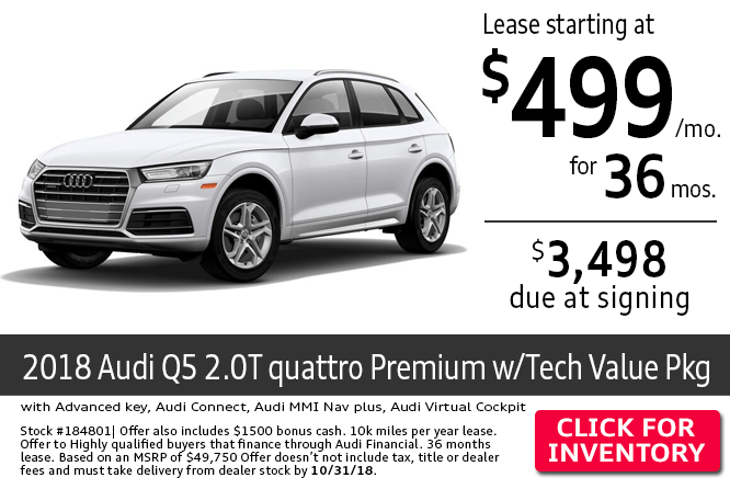 Save with this Columbus, OH special offer on a new 2018 Audi Q5