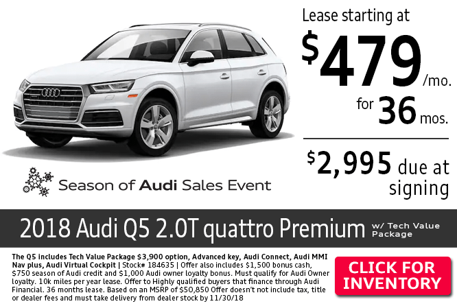 Save with this Columbus, OH special offer on a new 2018 Audi Q5 2.0T Quattro Premium w/ Tech Value Package
