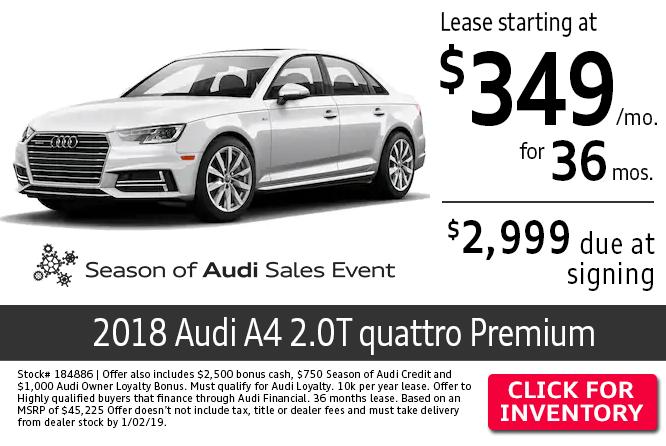 2018 Audi A4 2.0T quattro Premium lease special in Columbus, OH