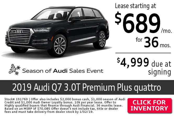 2019 Audi Q7 3.0T Premium Plus quattro lease special in Columbus, OH