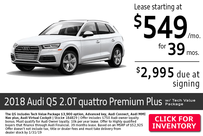 Lease a 2018 Audi Q5 2.0T Quattro Premium Plus w/ Tech Value Package for a Low Monthly Payment in Columbus, OH