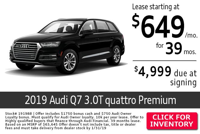 2019 Audi Q7 3.0T Premium Quattro Low Payment Lease Special in Columbus, OH