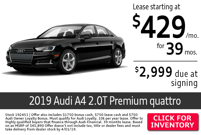 Save with this Columbus, OH special offer on a new 2019 Audi A4 2.0T Premium quattro
