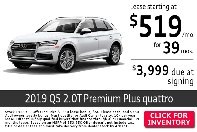 Save with this Columbus, OH special offer on a new 2019 Audi Q5 2.0T Premium Plus quattro