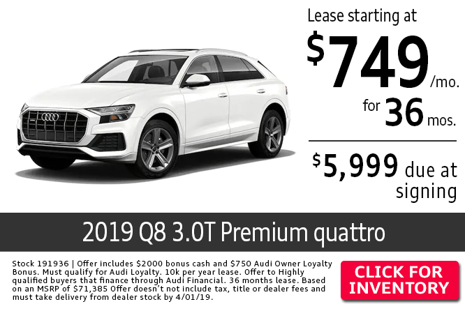 Save with this Columbus, OH special offer on a new 2019 Audi Q8 3.0T Premium quattro