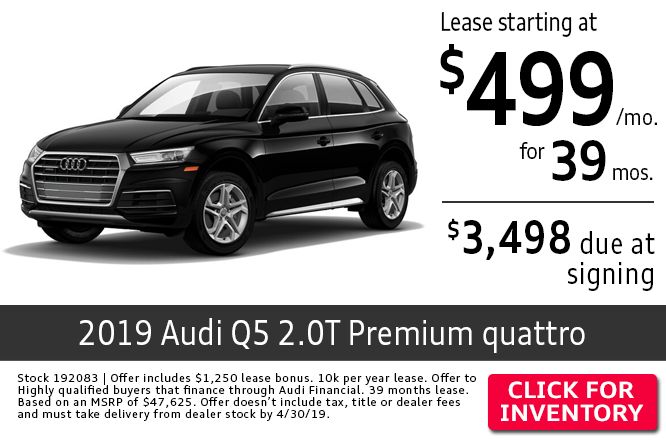Save with this Columbus, OH special offer on a new 2019 Audi Q5 2.0T Premium quattro