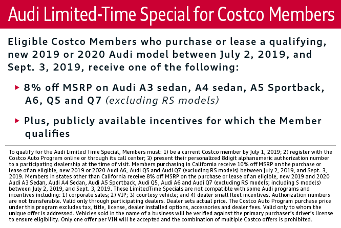 Audi Limited-Time Special for Costco Members