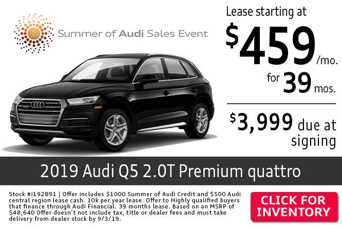 2019 Audi Q5 2.0T Quattro Premium Low Payment Lease Special in Columbus, OH