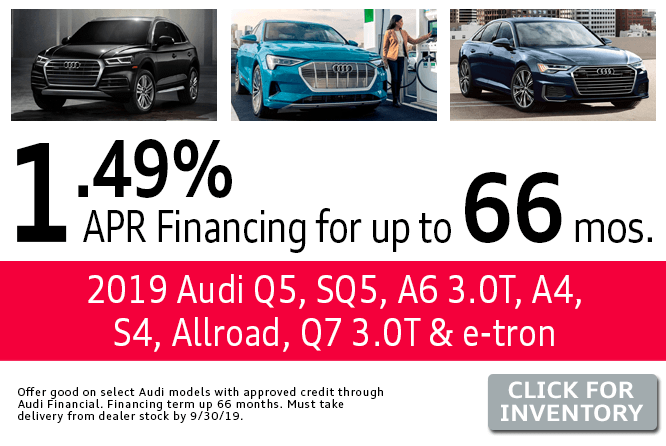 2019 Audi Q5, SQ5, A6 3.0T, A4, S4, Allroad, Q7 3.0T & e-tron Finance Specials in Columbus, OH