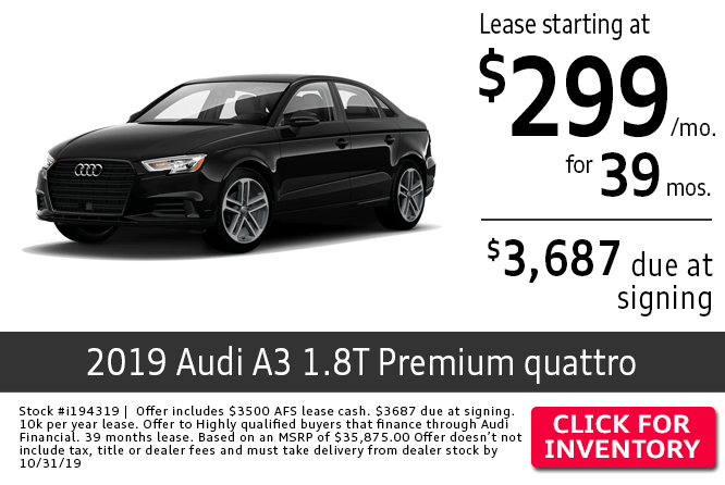 Save with this Columbus, OH special leasing offer on a new 2019 Audi A3 1.8T Premium quattro