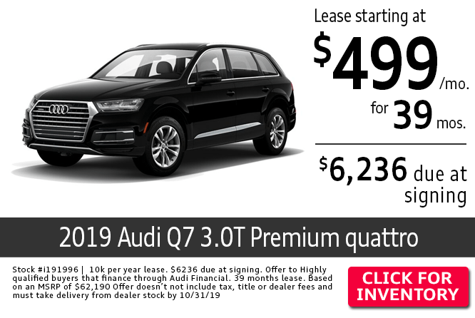 Save with this Columbus, OH special leasing offer on a new 2019 Audi Q7 3.0T quattro Premium