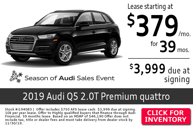 Save with this Columbus, OH special leasing offer on a new 2019 Audi Q5 2.0T Quattro Premium