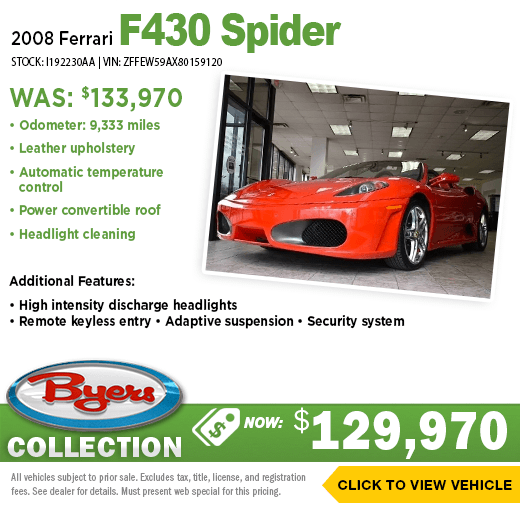 2008 Ferrari F430 Spider Pre-Owned Special at Byers Imports in Columbus, OH