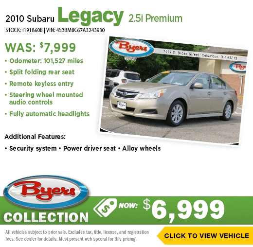 2010 Subaru Legacy 2.5i Premium Pre-Owned Special at Byers Imports in Columbus, OH