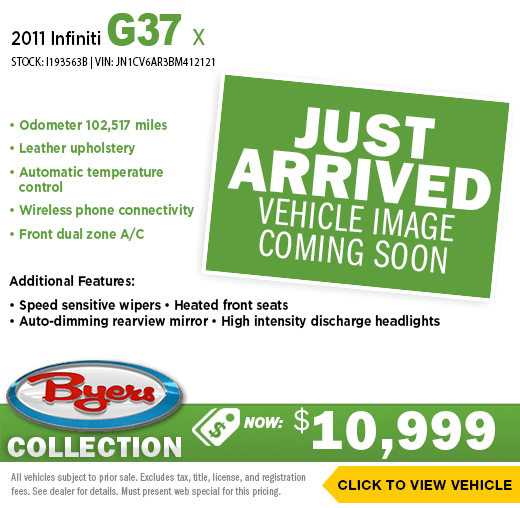2011 Infinity G37x Pre-Owned Special at Byers Imports in Columbus, OH