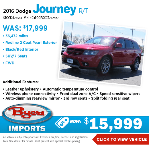 2016 Dodge Journey R/T Pre-Owned Special at Byers Imports in Columbus, OH