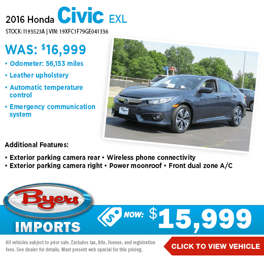 2016 Honda Civic EXL Pre-Owned Special at Byers Imports in Columbus, OH